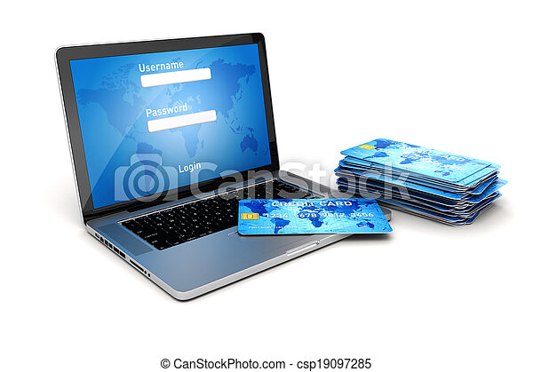 3d laptop and credit cards online shopping secure transaction - csp19097285