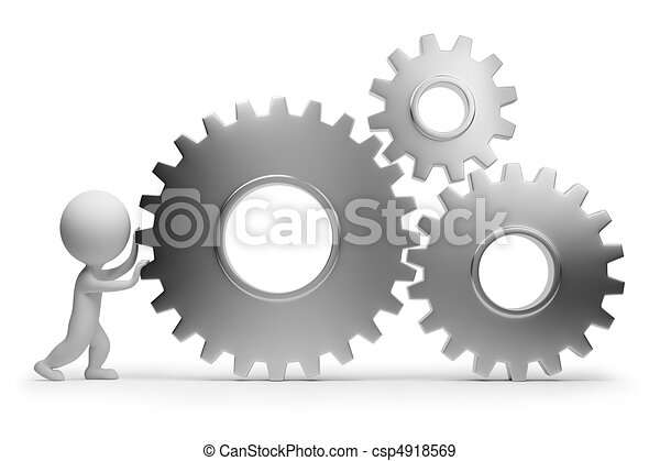 3d small people - rolls gears - csp4918569