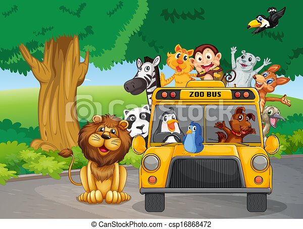 A zoo bus full of animals - csp16868472