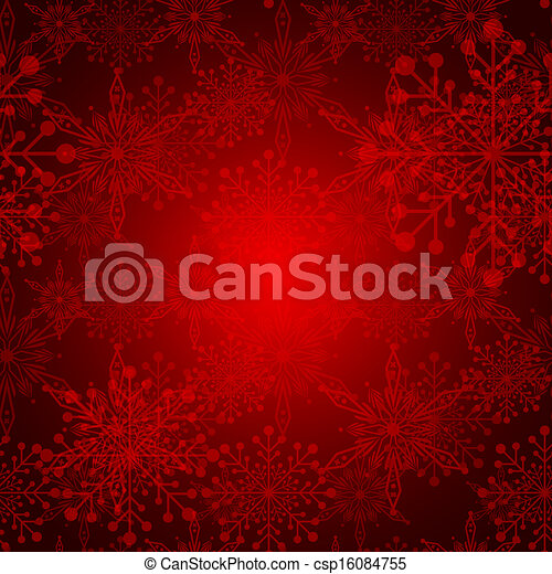 Abstract Red Christmas Snowflake Background - csp16084755