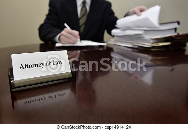 Attorney at Desk with Business Card - csp14914124