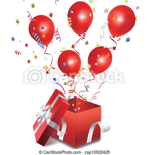 balloons out of the open gift box - csp10502428