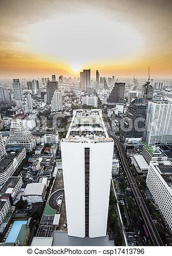 Bangkok skyline with urban skyscrapers at sunset. - csp17413796