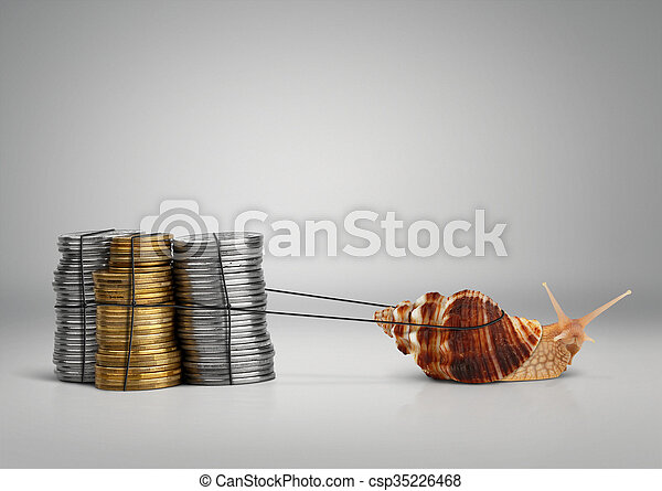 Banking concept snail pulling money, copy space - csp35226468