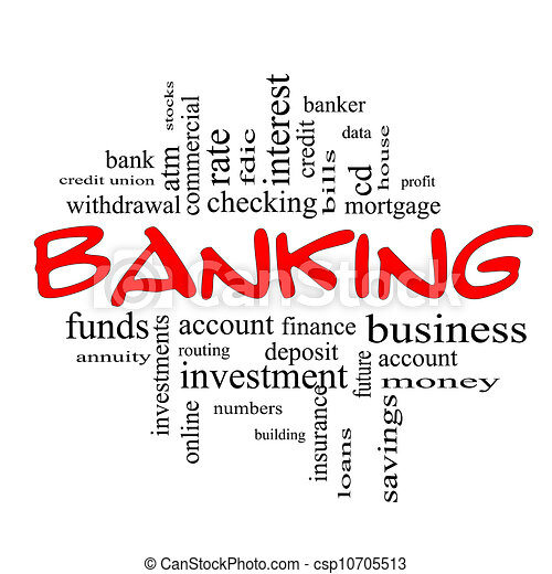 Banking Word Cloud Concept in red & black - csp10705513