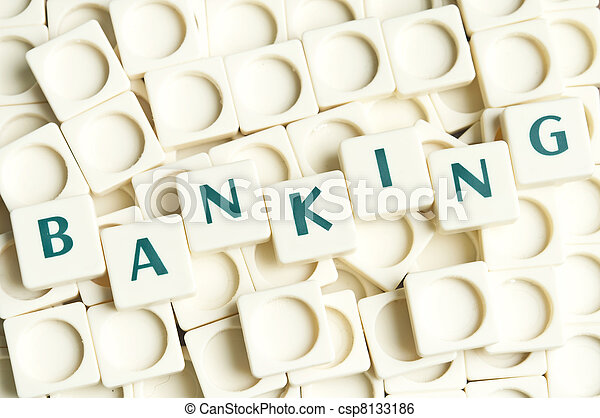 Banking word made by leter pieces - csp8133186