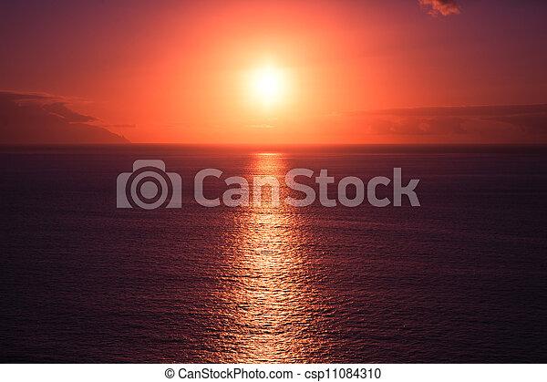 Beautiful sunset at seascape - csp11084310