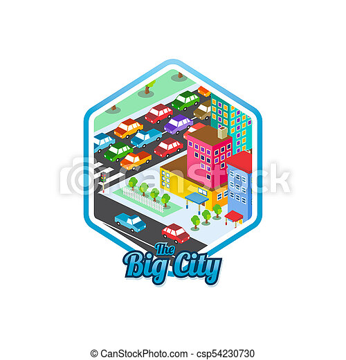 big city isometric real estate realty cartoon logo template - csp54230730