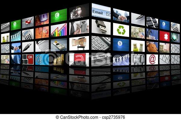 Big Panel of TV screen internet business - csp2735976