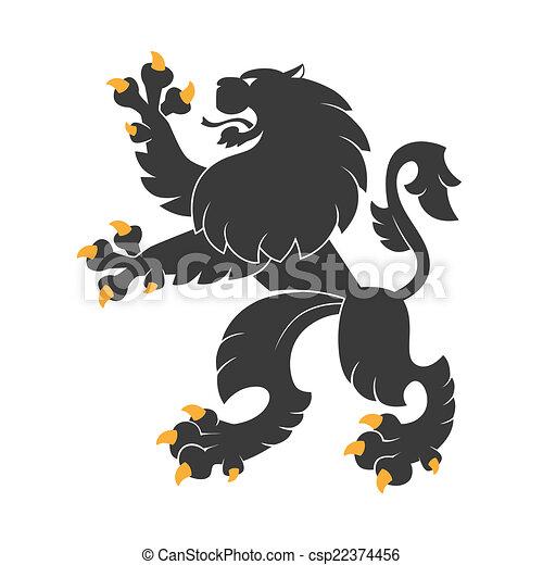 black heraldic lion - csp22374456