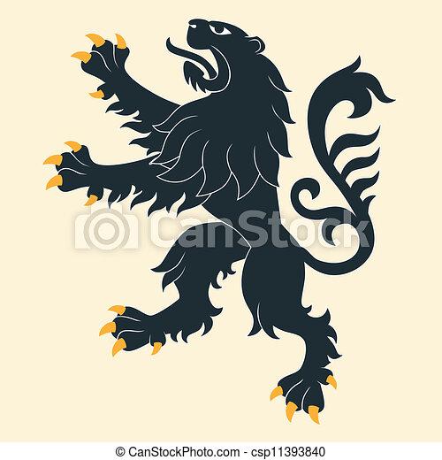 Black heraldic lion - csp11393840