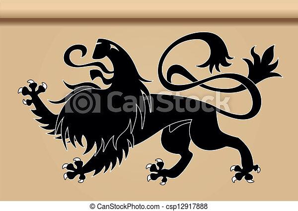 Black heraldic lion - csp12917888