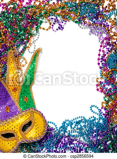Border made of mardi gras bead and mask on white - csp2856594
