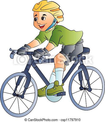 Boy Riding a Bicycle, illustration - csp11797910