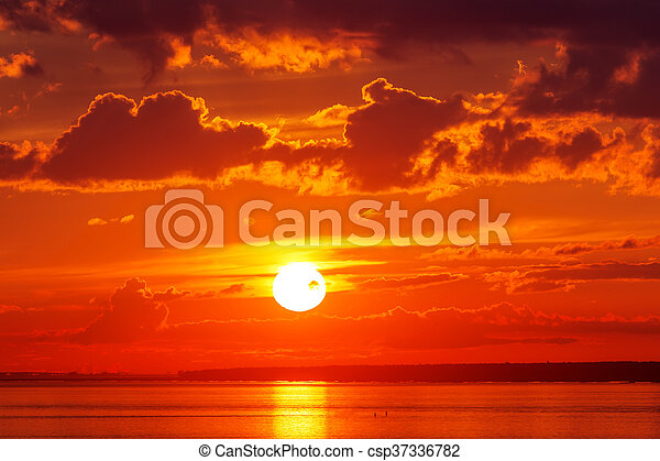 Bright red sunset - csp37336782