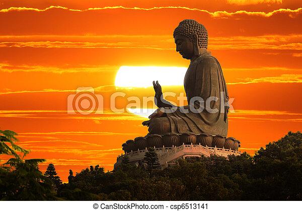 Buddha at sunset - csp6513141