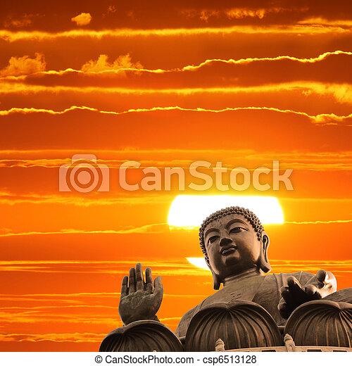 Buddha at sunset - csp6513128
