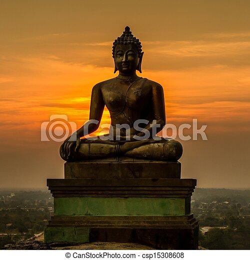 Buddha statue on sunset at Saraburi, Thailand - csp15308608