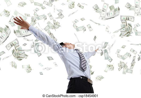 business man hug money - csp18454901