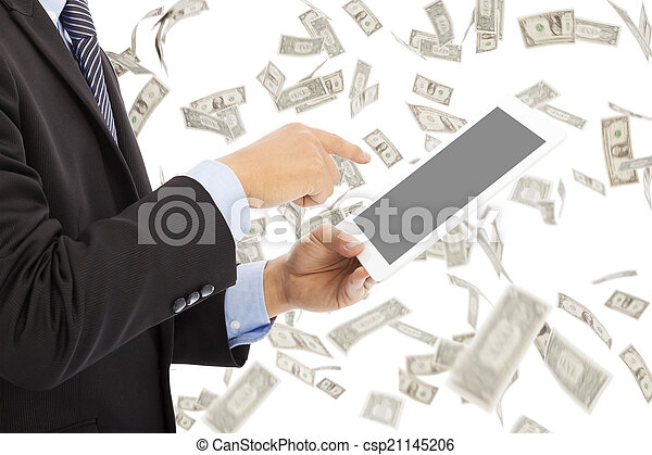 business man touching tablet with money rain background - csp21145206