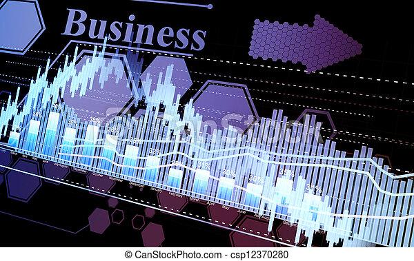 Business statistics and analytics, glowing sheet beznes statistics of exchange trading in the dark - csp12370280