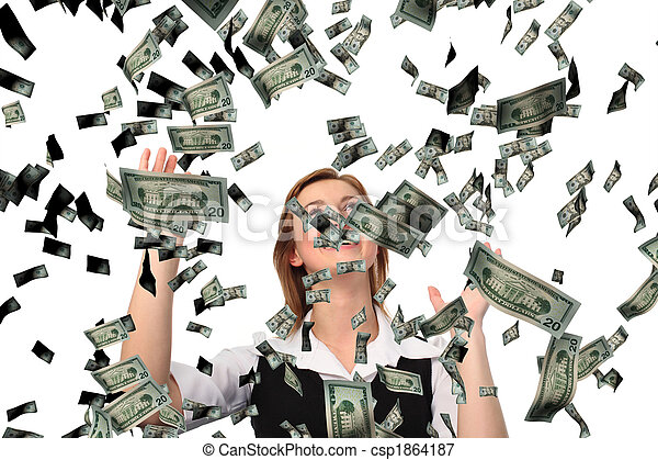 Business woman cathing Falling Dollars - csp1864187