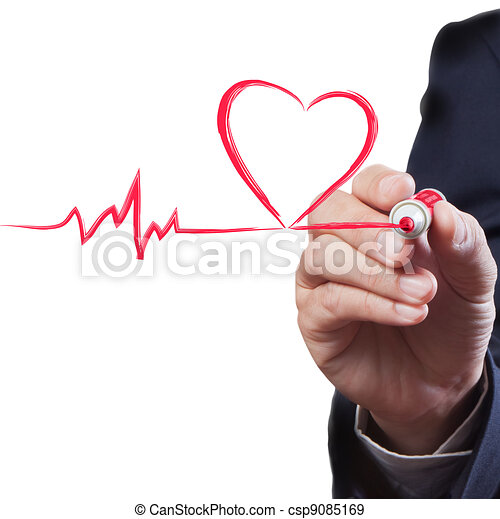 businessman drawing heart breath line, Medical concept - csp9085169