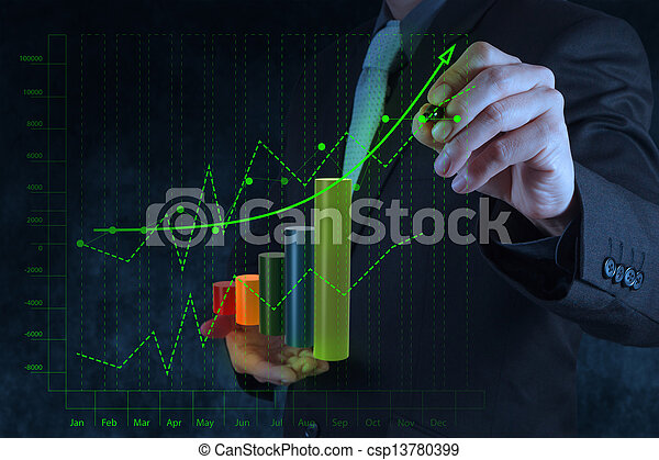 businessman hand drawing virtual chart business on touch screen computer as concept - csp13780399