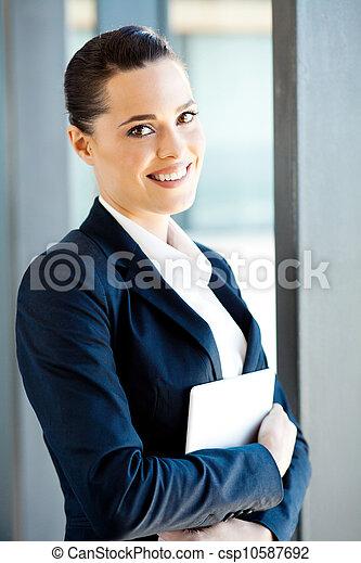 businesswoman holding tablet computer - csp10587692