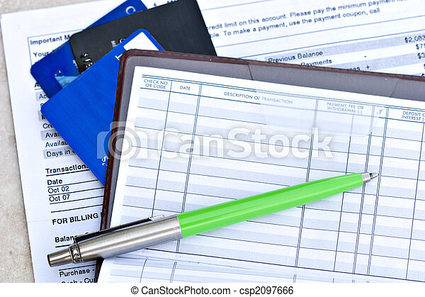 checkbook with credit cards - csp2097666