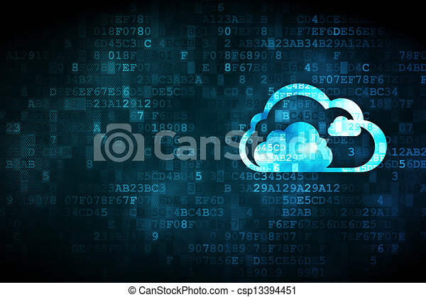 Cloud computing concept: Cloud on digital background - csp13394451