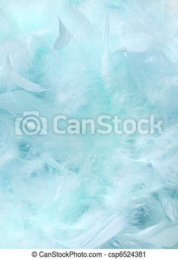 Cloudy blue sky fluffy feather background - csp6524381