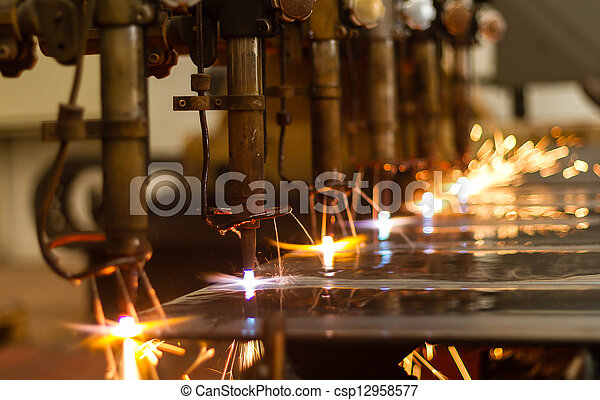 CNC LPG cutting with sparks close u - csp12958577