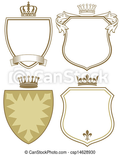 Coat of arms with shield and crown - csp14628930