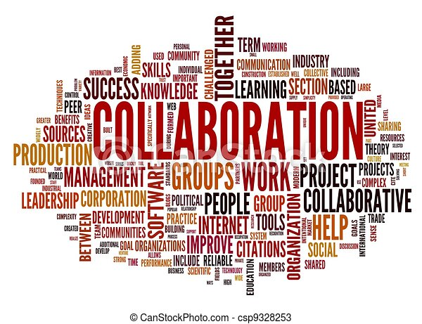 Collaboration concept in word tag cloud - csp9328253