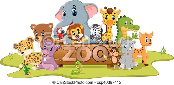 collection of zoo animals - csp40397412