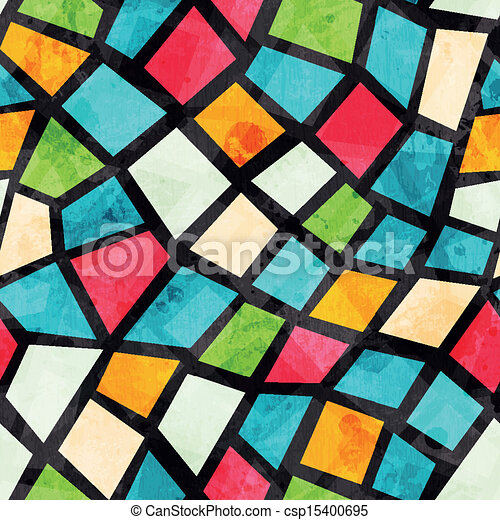 colored mosaic seamless pattern with grunge effect - csp15400695