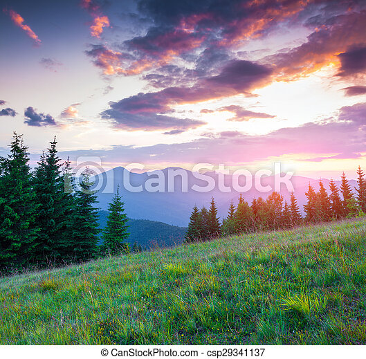 Colorful summer sunset in the Carpathian mountains - csp29341137