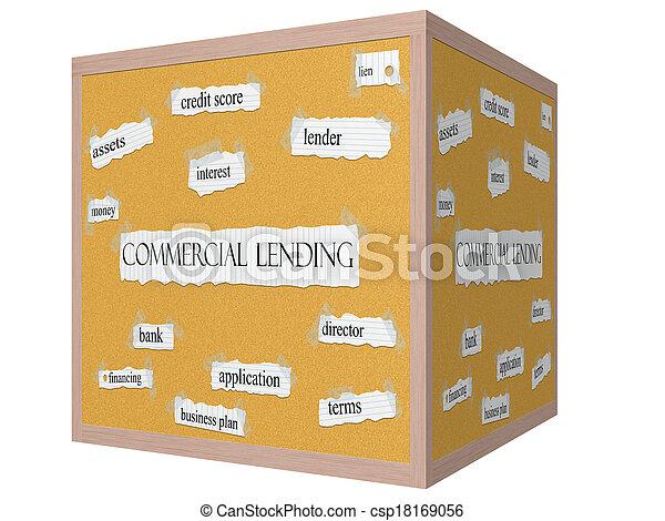 Commercial Lending 3D cube Corkboard Word Concept - csp18169056