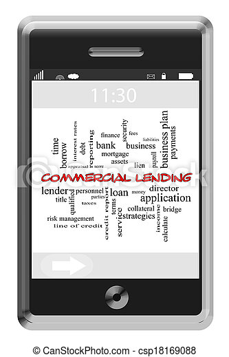 Commercial Lending Word Cloud Concept on Touchscreen Phone - csp18169088