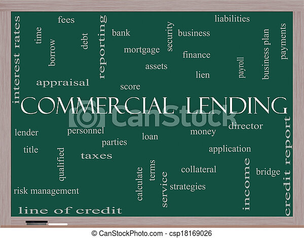 Commercial Lending Word Cloud Concept on a Blackboard - csp18169026