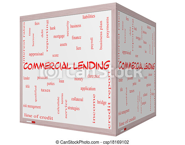 Commercial Lending Word Cloud Concept on a 3D cube Whiteboard - csp18169102