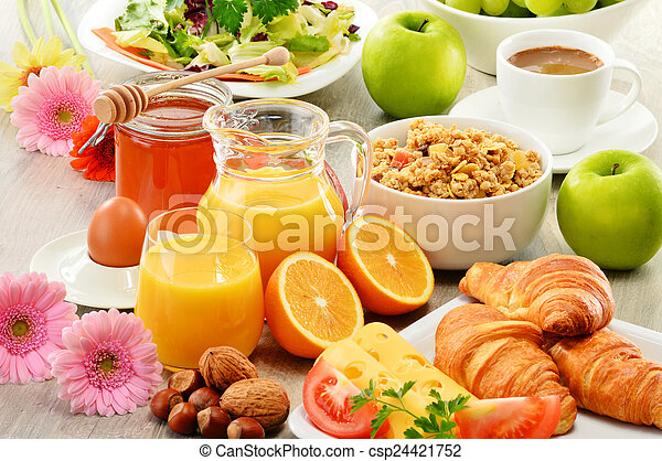 Composition with breakfast on the table. Balnced diet. - csp24421752