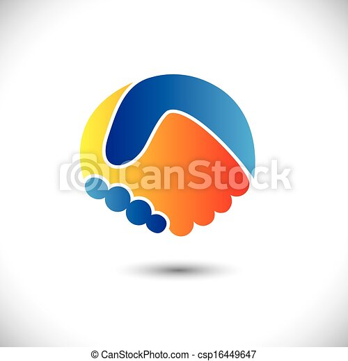 Concept vector graphic icon - business people or friends hand shake. This illustration can also represent new partnership, friendship, unity and trust, greeting & gestures, etc - csp16449647