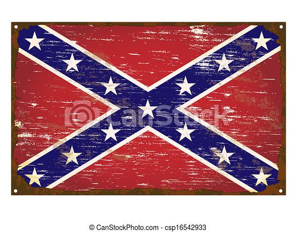 Confederate Flag Enamel Sign - csp16542933