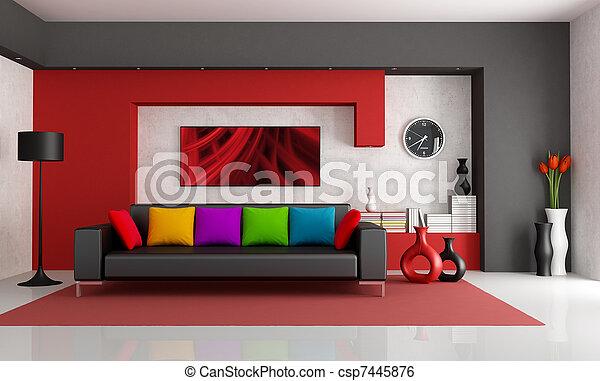 Contemporary Living Room - csp7445876