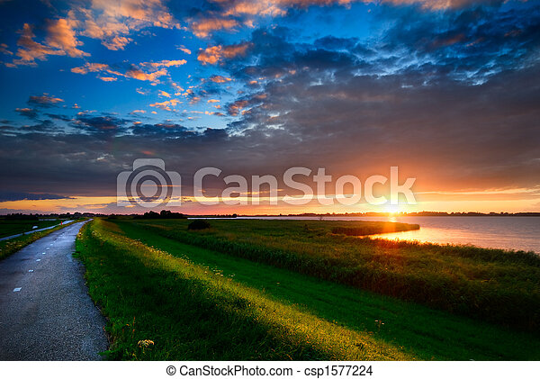country road and sunset - csp1577224