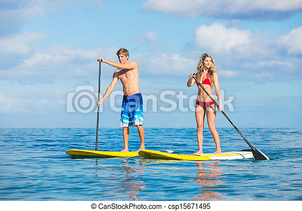 Couple Stand Up Paddling in Hawaii - csp15671495