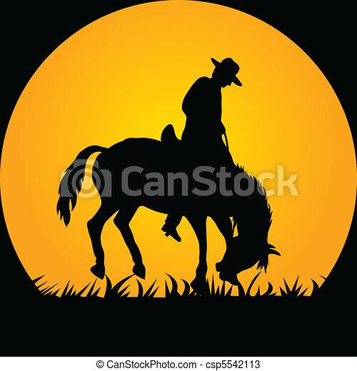 Cowboy in the Wild Horse - csp5542113