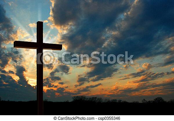 Cross at Sunset - csp0355346